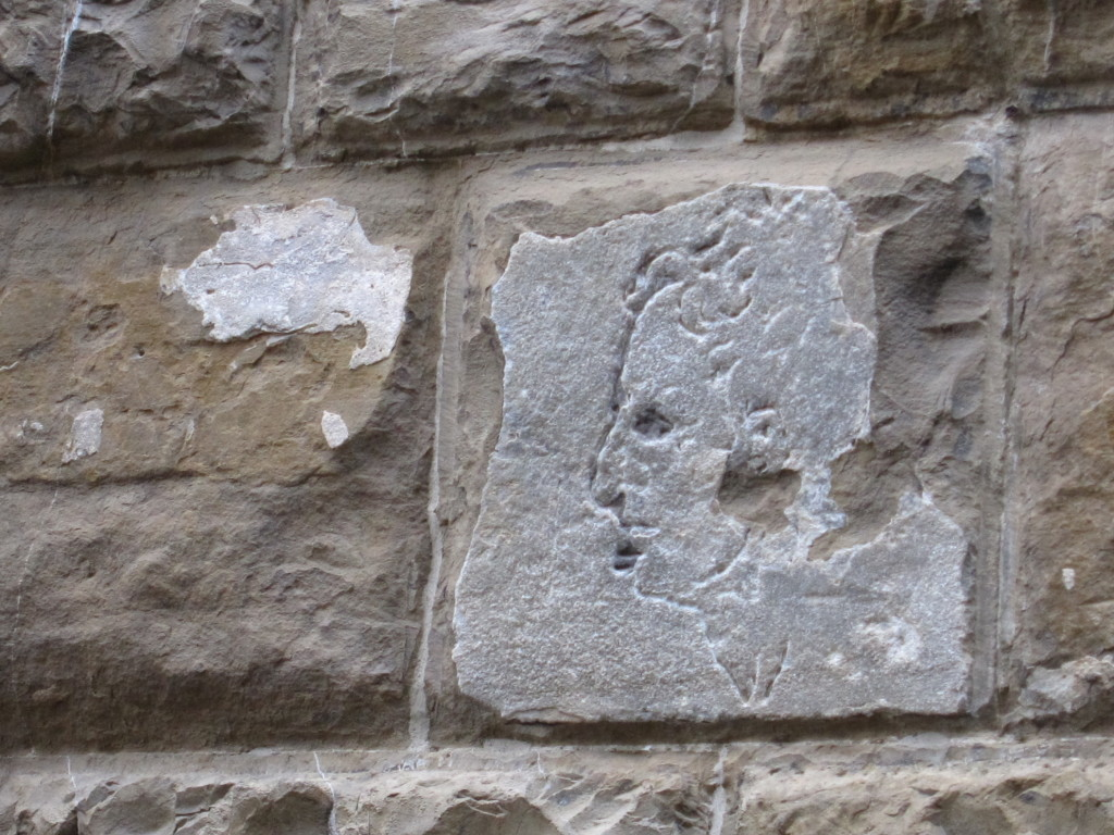 """Michelangelo's own """"graffiti"""", marking his territory on the Florence City hall."""