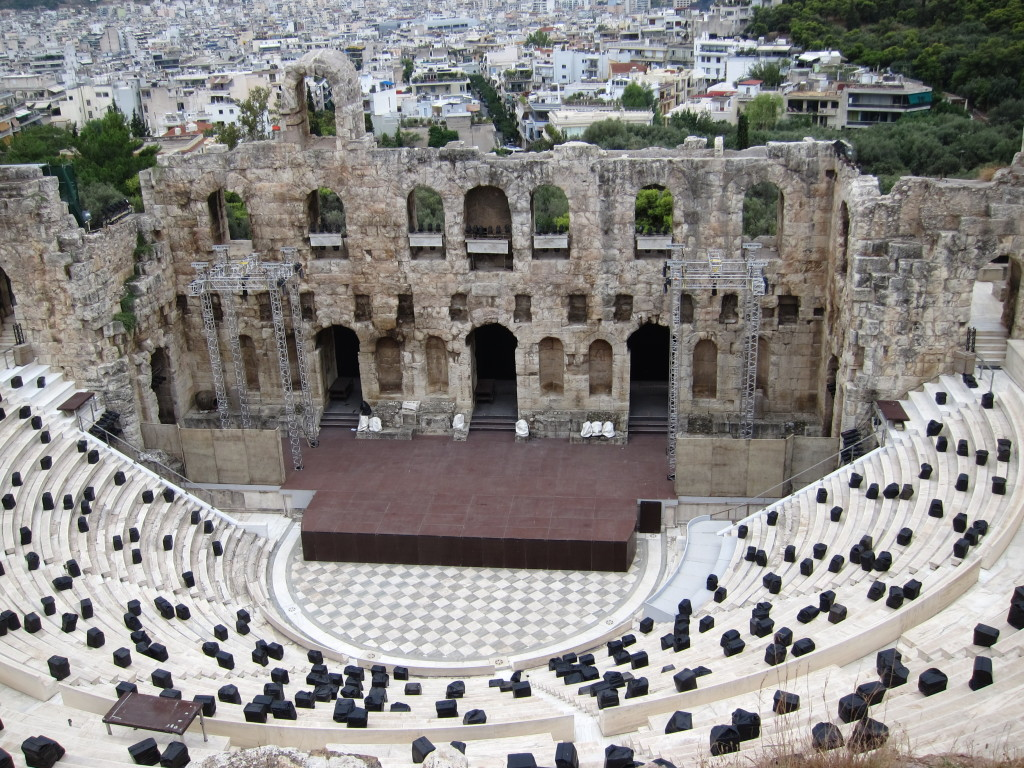 Looking down on the Odeon of Herodes Atticus