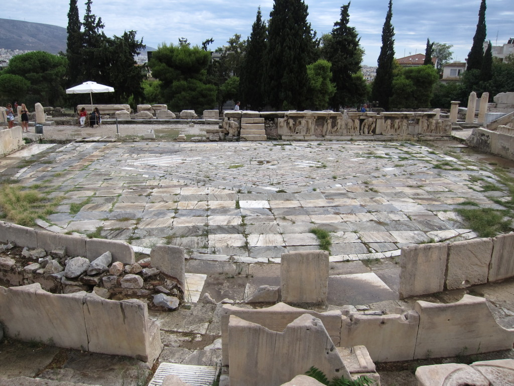 The view from the front rows in the Theater of Dionysus